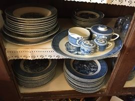 Vintage Currier and Ives Blue China 'The Old Grist Mill' 2 sets