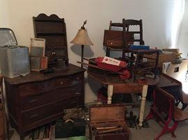 Vintage Chest of Drawers, Vintage Chairs, Vintage School Desks