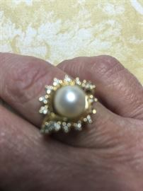 Gold & Pearl Ring  Surrounded by Diamonds