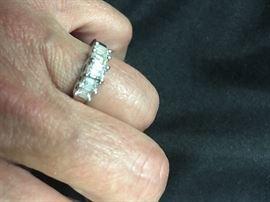 5 Genuine Diamond set in White Gold Band