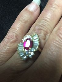 CZ  Synthetic Ruby Ring