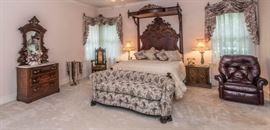 19th Century Mitchell & Rammelsberg (Signed M.R.) Walnut Half Tester Bed with Queen Bed Extension