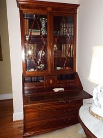 18th Century English Sheraton Mahogany Secretary-Estate of the Owner of all South Federal Banks in FL