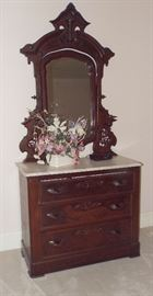 19th Century Carved Walnut Carrara Marble Top Dresser with Candle Sconces