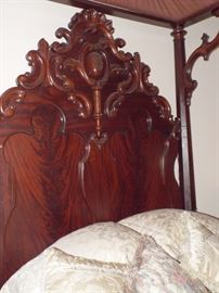 Carving on the 19th Century Mitchell & Rammelsberg (Signed M.R.) Walnut Half Tester Bed with Queen Bed Extension