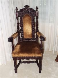 Antique Tudor Style Carved Wood Arm Chair