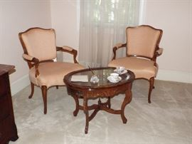 "Antique French Arm Chairs and Small ""X"" Base Table"
