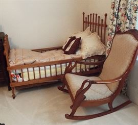 19th Century Spindle Youth Bed 19th Century Swan Neck Arm Rocking Chair