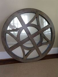This is not a Conestoga wagon wheel, rather a nice mirror, by Nadeau. It's kinda like me early in the morning, a bit foggy, but I'll clean it before the sale, don't worry.