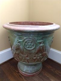 "Nice glazed urn, love the color - it would be great as a holiday wine chiller, os just stick a braided-trunk ficus tree in it and call it a day; measures 21"" diameter x 22"" x 29"" T."