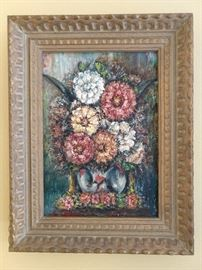 "Nice original oil painting (14"" x 18"") signed Siege, of gay summer zinnias, even though it's December - great frame!"