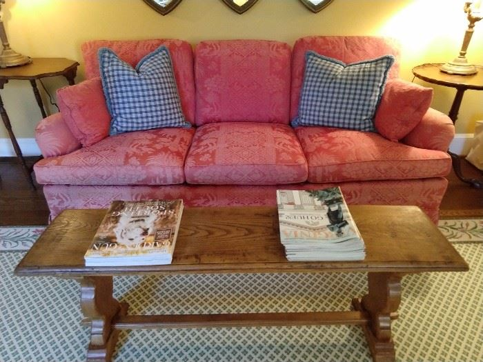 Nicely upholstered down damask couch, with homespun pine coffee table - prop your feet up and sit a spell!