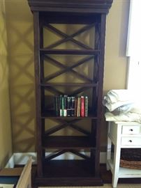 "One of a pair of contemporary mahogany bookshelves - hey good lookin'! They measure 2' 4"" W x 1' D x 6' 6"" T."