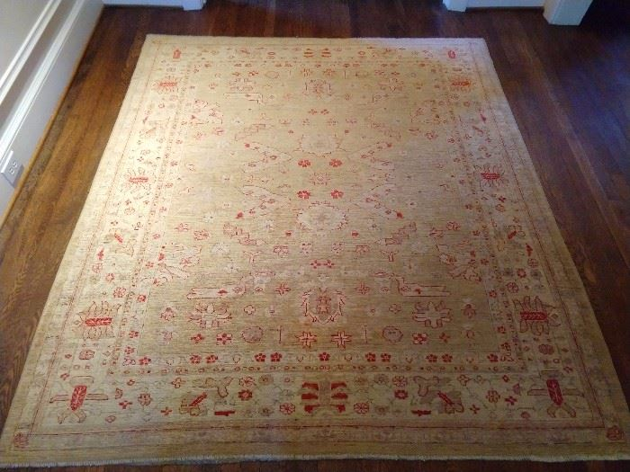 "Vintage Turkish Oushak rug, 100% Wool face, hand woven, measures 7' 4"" x 6' 5"" - kinda square, yet simultaneously hip."