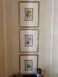"Set/6 hand colored, nicely framed/matted English botanicals, by J. Ridgeway, of 170 Piccadilly - 1821; each print measures 16"" x 21""."