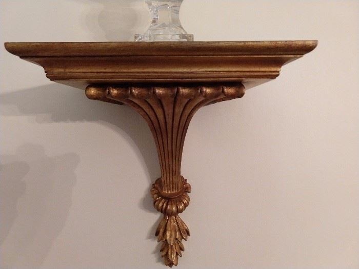 One of a pair of large, gilt wood wall sconces - these are vintage, not made in China yesterday.