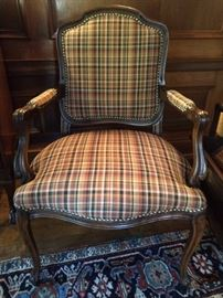 LOVE these handsome plaid bergere chairs - yes, there'a a pair. These are in the gentleman's library.                   There was a time in our country when men would read and have meaningful after-dinner conversation, rather than creating a man cave, where they watch non-stop sports - shocking, I know!