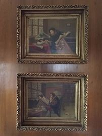 A lovely pair of antique, original oil paintings, depicting European men, in library settings.                                                 A world long ago and far away...
