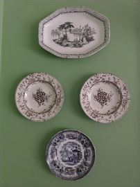 Nice collection of English transferware plates and platters; there's more.