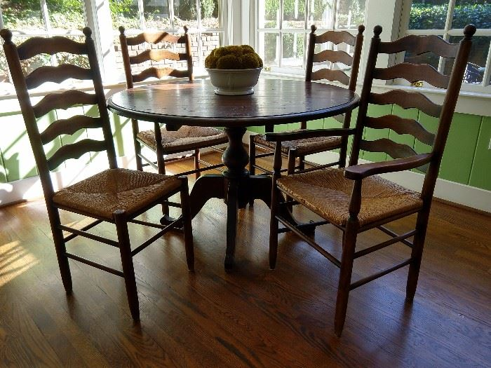 "Here's the vintage pine table and four chairs - two sides & two arms; measures 48"" diameter and purchased from Nottingham Antiques, on Bennett St.,  back in the day."