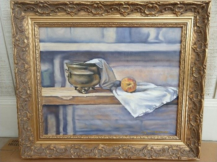 "This is actually quite a good original oil on canvas, by Rand Bradford (Knoxville, TN)  titled ""Still life, with Peach."" -1999            I know, not so creative with the name, but I can't paint that well."