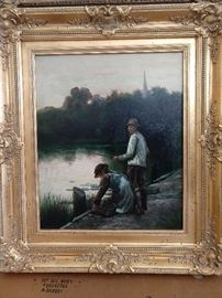 Love this vintage European oil painting of the fisherman, nicely framed!