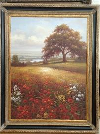Large original oil on canvas of floral field, signed F. Ardan.