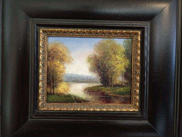 One of a pair of decorative original oils, on board.
