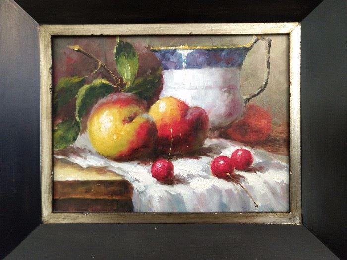 One of a pair of original still life oils on canvas.