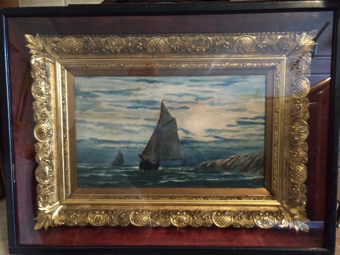 HOLY CRAP! This is one of the best looking gilt frames I've seen in a long time and I'm a frame 'ho!            Seriously, this is one gorgeous frame. Oh yeah, there's an original oil painting too, but LOOK at this frame - WOW!