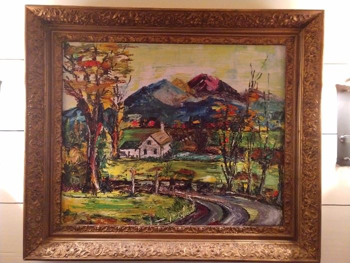 LOVE this signed original oil on canvas, artist signed and perfect for a lake house/mountain house; great vintage gilt wood frame too!