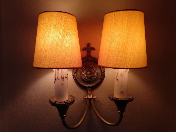 Another pair of slurpy wall sconces.                                        You should price these things at retail, Scott's or Lamp Art - Krazee prices, high as a cat's back I tell ya!