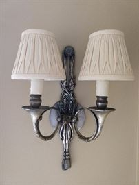 "OMG - Hold me back! We Do have fainting couches onsite, for such verklempt emergencies.                                   A wonderful pair of vintage pewter wall sconces, for your viewing pleasure; pleated mini-shades, oh-so-cute! They measure 15"" T x 9"" W."