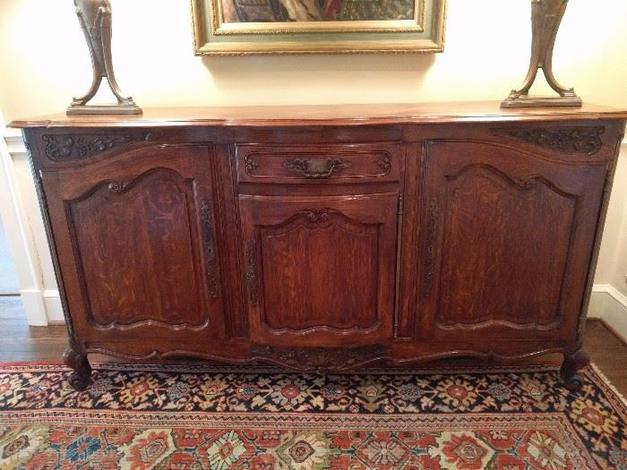 "NICE vintage French credenza, measuring 22"" D x 40"" T x 6'7"" L."