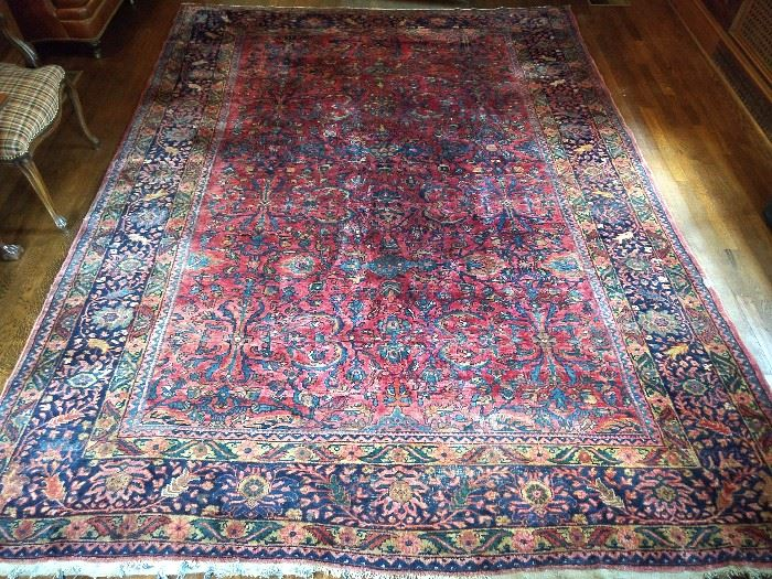 "Vintage Persian Sarouk rug, hand woven, 100% wool face, measures 8' 7"" x 11' 7""."