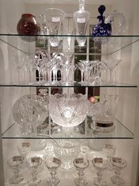 You can see the Lalique Phalsbourg decanter and pitcher on the top shelf, the matching stemware on the second shelf, ABCG on the third shelf and Baccarat 1841 Harcourt stemware on the bottom shelf.