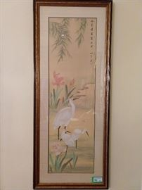 One of a pair of Asian watercolor gouache paintings on rice paper, artist signed.