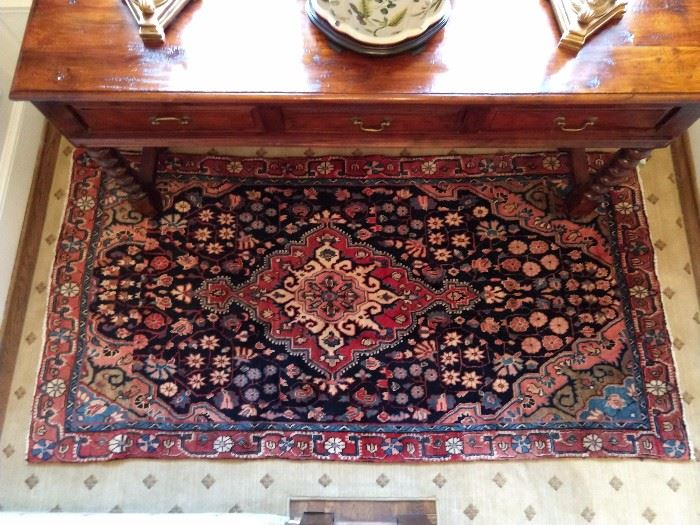 "LOVE the rugs in this house! They kept Jason and Andrea, at Moattar, Ltd. (ADAC) busy. This one is a vintage Persian Sarouk, measuring 4' x 7' 8""."