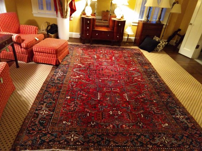 "Ah yes, another lovely Persian rug anchoring this bedroom. This is a vintage, all-over pattern Heriz, measuring 7' 7"" x 11' 4""."