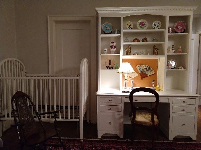 A built-in with lot's of girly goodies, a FREE wooden crib, as we cannot sell such things.