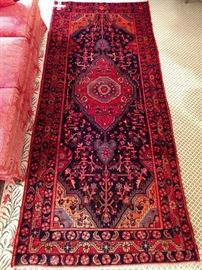 "Vintage Persian Sarouk runner, hand woven, 100% wool face, measures 4' 5"" x 10' 2""."