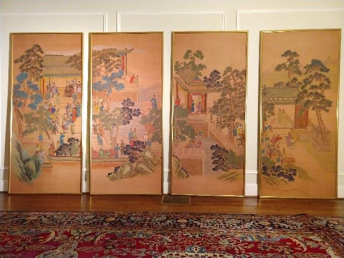 "OMG! These four hand painted Asian Coromandel scene silk screens are to die for! Purchased from ADAC at an obscene price each, they measure a whopping 7' 8"" tall x 42"" wide. Each is framed in a gold leaf wooden frame and make a huge statement for any room in your house, assuming that you have at least 10' ceilings and lot's o' cash!  ;-)"