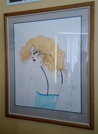 """Ramon Santiago Rare Tall Lady Di signed and framed artist proof   - $3500                                                                         hand colored 32""""x42"""""""