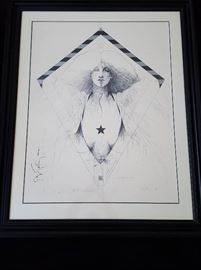 Signed and numbered (28/100) Ramon Santiago Kite Poster Artist Proof