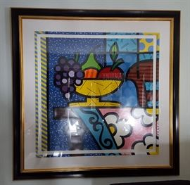 """Romero Britto signed, numbered (188/300), matted and framed """"Home"""" 1995"""