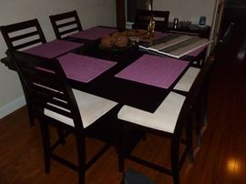 Pub height table w/6 Chairs..Dark Walnut finish