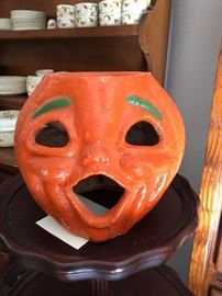 Paper mache pumpkin two sided