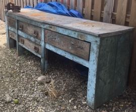 Old Original  Paint Blue Work Bench - Great Kitchen Island or Rustic Sideboard - Barn Find
