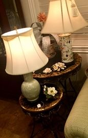 I couldn't decide which of these two gorgeous lamps or two tables worked better next to the sofa... so I left them all!