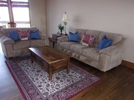Living room set couch/sofa and loveseat , area rug, coffee table and end table